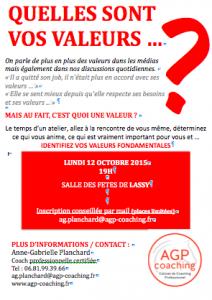 Affiche atelier Valeurs AGP Coaching